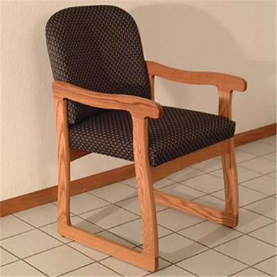 Wooden Mallet Prairie Fabric Guest Chair in Medium Oak; Arch Slate, WDNM1288