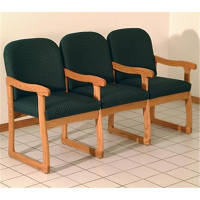 Wooden Mallet DW7-3MOAG Prairie Three Seat Chair with Center Arms in Med Oak; Arch Green (WDNM1405)