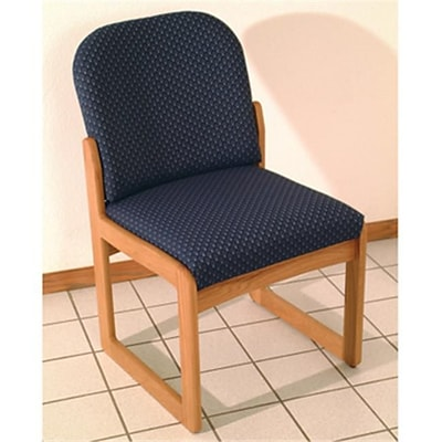 Wooden Mallet Prairie Armless Guest Chair in Light Oak/Watercolor Blue (WDNM1500)
