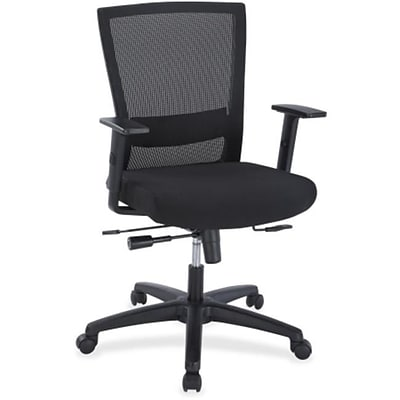 Lorell RTL156501 Fabric Ergonomic High-Back Mesh Chair, Adjustable Arms, Black