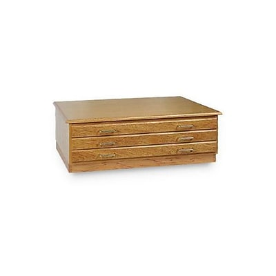 Alvin Three Drawer Flat File; Medium Oak (ALV5966)