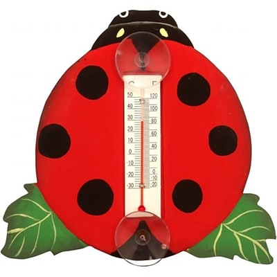 Songbird Essentials Ladybug on a Leaf Small Window Thermometer