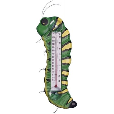 Songbird Essentials Green & Yellow Caterpillar Large Window Thermometer