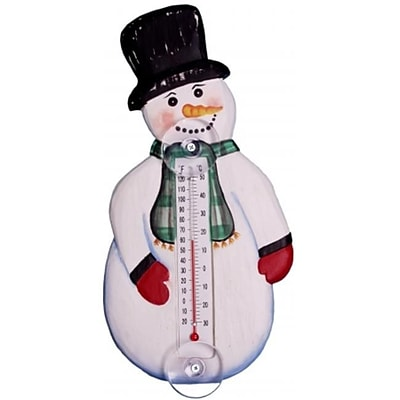 Songbird Essentials Holiday Snowman with Scarf Small Window Thermometer