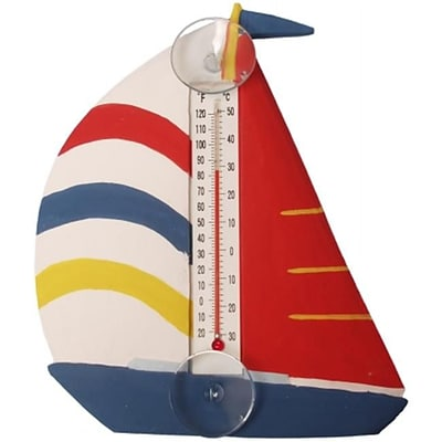 Songbird Essentials White Red & Blue Sailboat Small Window Thermometer