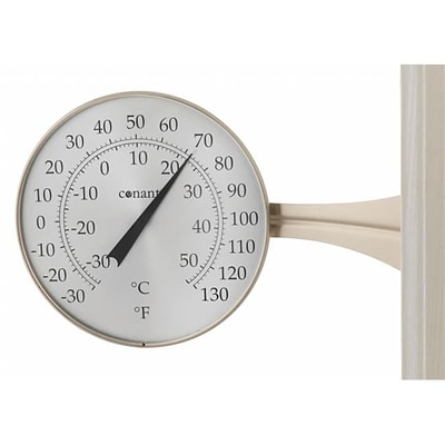 Conant Custom Brass Large Dial Thermometer Satin Nickel Finish