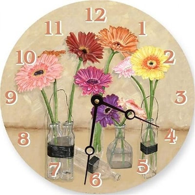 Lexington Studios Gerber Daisy Bottles 18in Round Clock (LXNGS177)