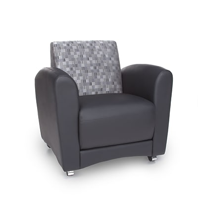 OFM Interplay Polyurethane Single Chair No Tablet, Nickel/Black (821-NCKL-PU606NT)