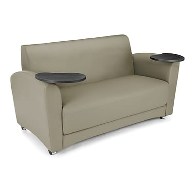 OFM Interplay Polyurethane Double Tablet Sofa, Taupe (822-PU607-TNGST)