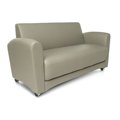 OFM Interplay Polyurethane Double-Seat Sofa, No Tablet, Taupe (822-PU607NT)
