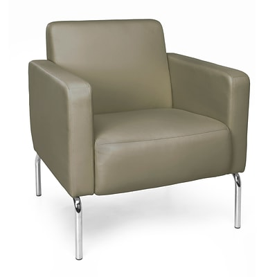 OFM Triumph Lounge Chair with Vinyl Seat and Chrome Frame, Taupe (3002-PU607)