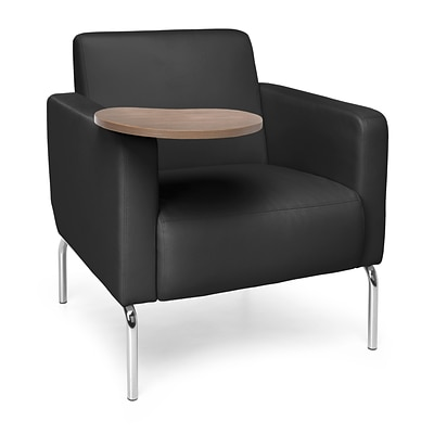 OFM Triumph Lounge Chair with Vinyl Seat and Chrome Frame, Black with Bronze Tablet (3002T-PU606-BZ)