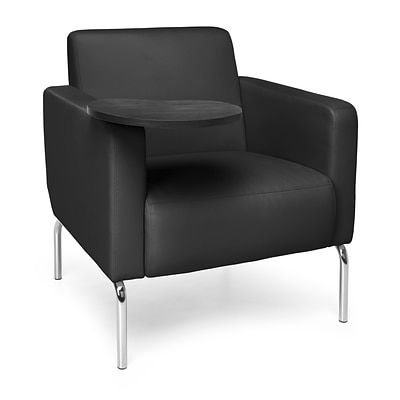 OFM Triumph Lounge Chair w/Vinyl Seat and Chrome Frame, Black w/Tungsten Tablet (3002-PU606-TG)