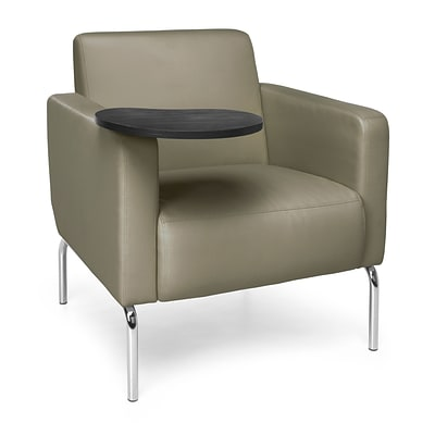 OFM Triumph Lounge Chair w/Vinyl Seat and Chrome Frame, Taupe w/Tungsten Tablet (3002-PU607-TG)
