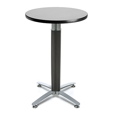 OFM 24 Round Cafe Table with Gray Nebula Laminate Table Top and Metal Mesh Base (CMT24RD-GRYNB)
