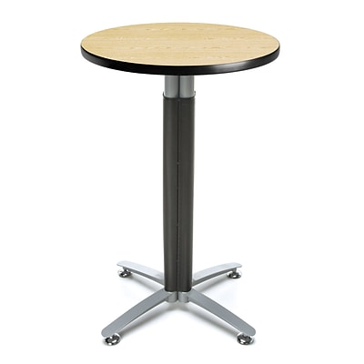OFM 24 Round Cafe Table with Oak Laminate Table Top and Metal Mesh Base (CMT24RD-OAK)