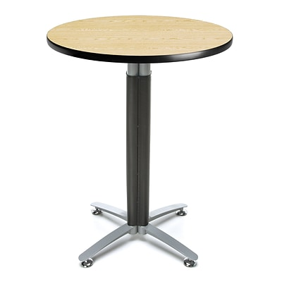 OFM 30 Round Cafe Table with Oak Laminate Table Top and Metal Mesh Base (CMT30RD-OAK)