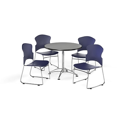 OFM 36 Round Laminate MultiPurpose Table w/Four Chairs, Gray Nebula Table/Navy Chair (PKGBRK080008)