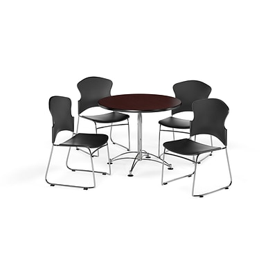 OFM 36 Round Laminate Multi-Purpose Table w/4 Chairs, Mahogany Table/Black Chairs (PKG-BRK-08-0010)