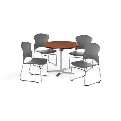 OFM 42 Round Laminate MultiPurpose Flip-Top Table w/4 Chairs, Cherry/Gray Chairs (PKG-BRK-032-0001)