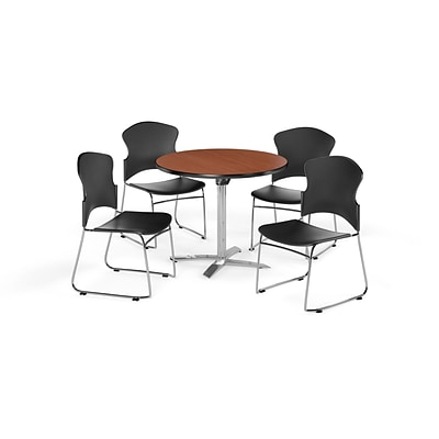OFM 36 Round Laminate MultiPurpose FlipTop Table w/Four Chairs, Cherry/Black Chair (PKGBRK0310002)
