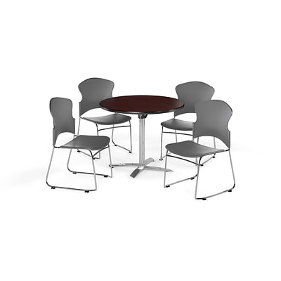 OFM 42 Round Laminate MultiPurpose FlipTop Table w/Four Chairs, Mahogany/Gray Chair (PKGBRK0320009)