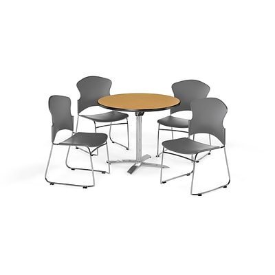 OFM 36 Round Laminate MultiPurpose FlipTop Table w/4 Chairs, Oak Table/Gray Chairs (PKGBRK0310013)
