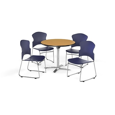 OFM 42 Round Laminate MultiPurpose FlipTop Table w/4 Chairs, Oak Table/Navy Chairs (PKGBRK0320016)