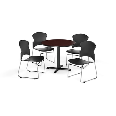 OFM 36 Round Laminate MultiPurpose X-Series Table w/Four Chairs, Mahogany/Black Chair (845123054857)