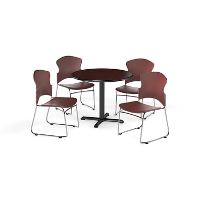 OFM 36 Round Laminate MultiPurpose XSeries Table w/Four Chairs, Mahogany/Wine Chair (PKGBRK0330011)