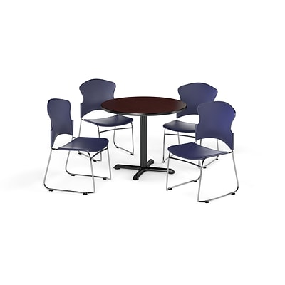 OFM 36 Round Laminate MultiPurpose XSeries Table w/4 Chairs, Mahogany/Navy Chairs (PKGBRK0330012)