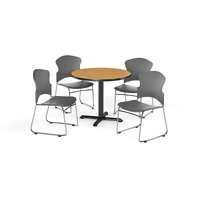 OFM 36 Round Laminate Multi-Purpose X-Series Table w/Four Chairs, Oak/Gray Chair (PKG-BRK-033-0013)