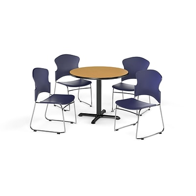 OFM 36 Round Laminate MultiPurpose XSeries Table w/4 Chairs, Oak Table/Navy Chairs (PKGBRK0330016)