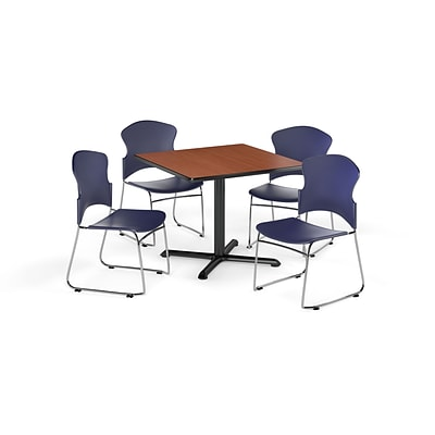 OFM 36 Square Laminate MultiPurpose XSeries Table w/4 Chairs, Cherry/Navy Chairs (PKGBRK0340004)
