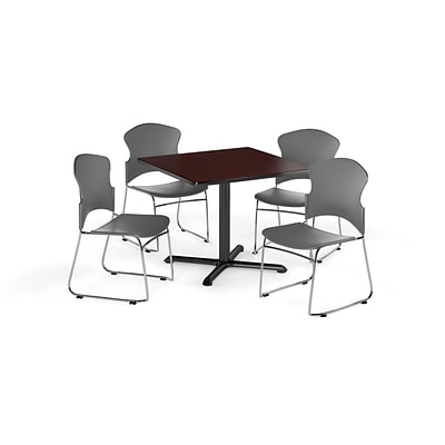 OFM 36 Square Laminate MultiPurpose XSeries Table w/4 Chairs, Mahogany/Gray Chairs (PKGBRK0340009)