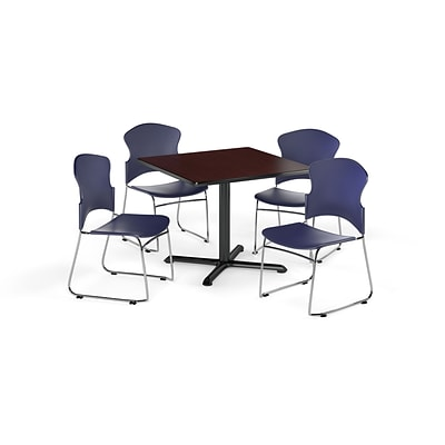 OFM 42 Square Laminate MultiPurpose XSeries Table w/4 Chairs, Mahogany/Navy Chairs (PKGBRK0360012)
