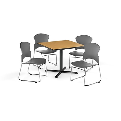 OFM 42 Square Laminate MultiPurpose X-Series Table w/Four Chairs, Oak/Gray Chair (PKG-BRK-036-0013)