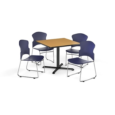 OFM 42 Square Laminate MultiPurpose XSeries Table w/4 Chairs, Oak Table/Navy Chairs (PKGBRK0360016)