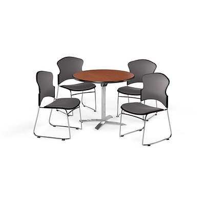OFM 36 Round Laminate MultiPurpose Flip-Top Table w/4 Chairs, Cherry/Gray Chairs (PKG-BRK-037-0001)