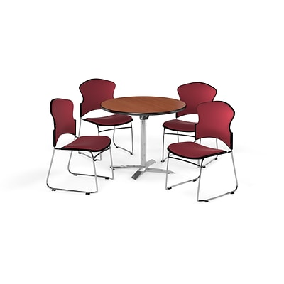 OFM 36 Round Laminate MultiPurpose Flip-Top Table w/4 Chairs, Cherry/Wine Chairs (PKG-BRK-037-0002)