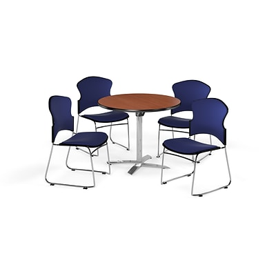 OFM 42 Round Laminate MultiPurpose FlipTop Table w/Four Chairs, Cherry/Navy Chair (PKGBRK0390003)