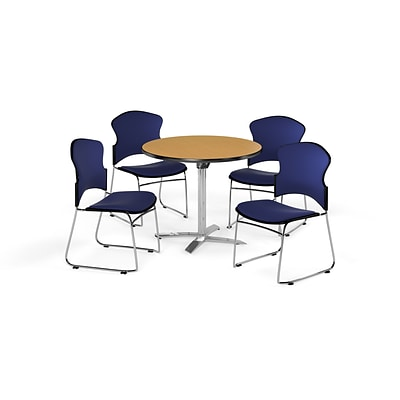 OFM 42 Round Laminate MultiPurpose FlipTop Table w/4 Chairs, Oak Table/Navy Chairs (PKGBRK0390015)