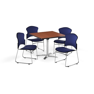 OFM 36 Square Laminate MultiPurpose FlipTop Table w/Four Chairs, Cherry/Navy Chair (PKGBRK0380003)