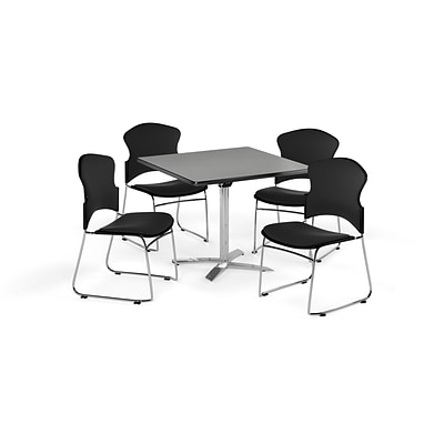 OFM 42 Square Laminate MultiPurpose FlipTop Table w/4 Chairs, Gray Nebula/Black Chairs (845123055953)