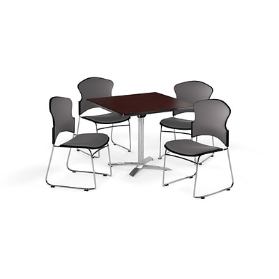 OFM 42 Square Laminate MultiPurpose FlipTop Table w/Four Chairs, Mahogany/Gray Chair