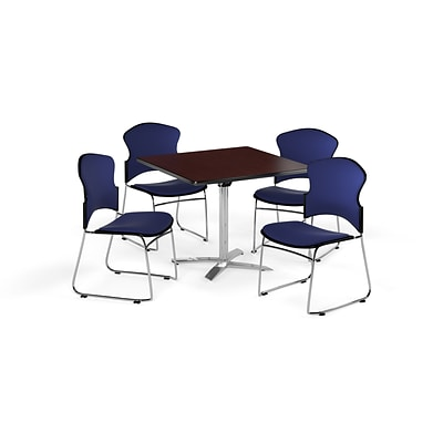 OFM 42 Square Laminate MultiPurpose FlipTop Table w/Four Chairs, Mahogany/Navy Chair (845123055984)