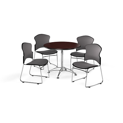 OFM 36 Round Laminate MultiPurpose Table w/Four Chairs, Mahogany Table/Gray Chair (PKGBRK0410009)