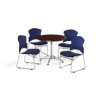 OFM 36 Round Laminate MultiPurpose Table w/Four Chairs, Mahogany Table/Navy Chair (PKGBRK0410011)