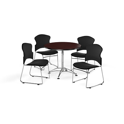 OFM 36 Round Laminate MultiPurpose Table w/4 Chairs, Mahogany Table/Black Chairs (PKGBRK0410012)