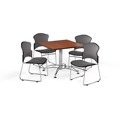 OFM 36 Square Laminate MultiPurpose Table w/Four Chairs, Cherry Table/Gray Chair (PKGBRK0420001)